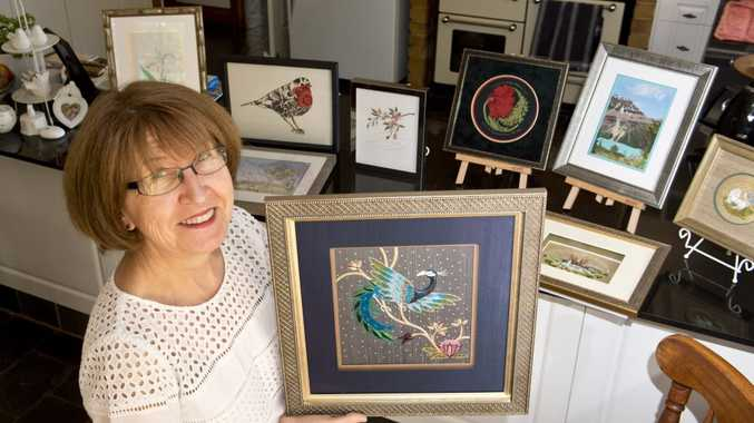 STITCHING ON SHOW: Cheryl Kealy, Toowoomba Embroiders Guild of Queensland is holding an embroidery exhibition. Thursday, Oct 01, 2015 . Photo Nev Madsen / The Chronicle