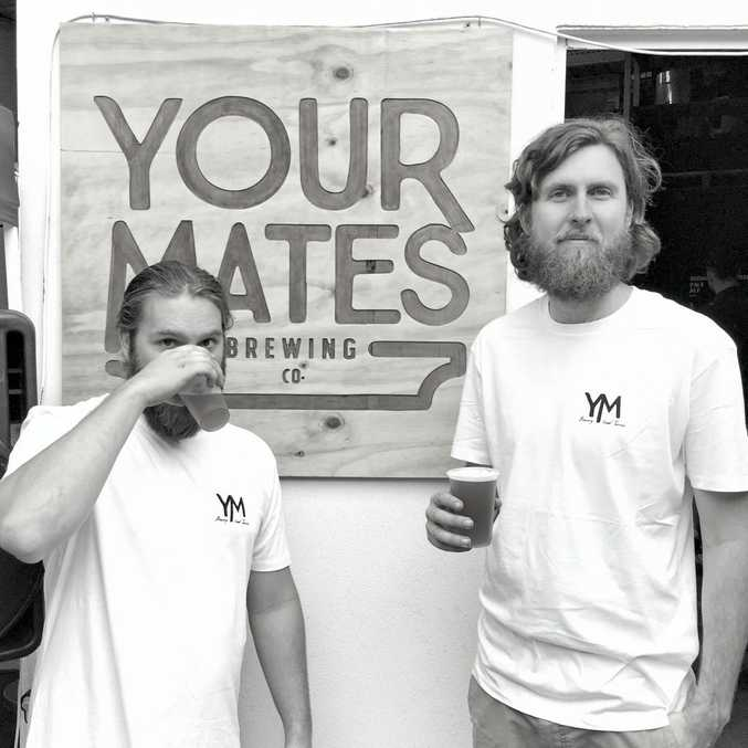 CHEERS: Your Mates brewery founders Christian McGarry and Matt Hepburn launched their first beer, which is now sold on tap at five Sunshine Coast venues.