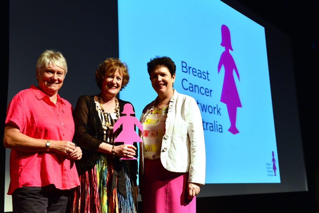 SPEAKING UP: Breast cancer survivor and former Olympian Raelene Boyle with Prof Jane Turner and Prof Fran Boyle at Nambour Civic Centre for the Breast Cancer Network Australia information forum.