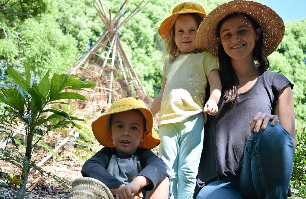 GARDEN VARIETY: Jacob, Maya and Rachel Heaton, project manager of the Bushfood Living Classroom.