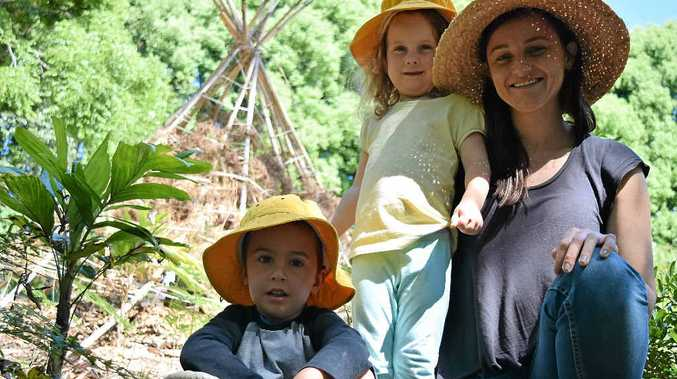 GARDEN VARIETY: Jacob, Maya and Rachel Heaton, project manager of the Bushfood Living Classroom.