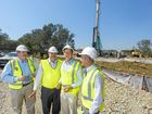 Project Director from Pacific Complete Chris Wilkinson, Pacific Hwy upgrade general manager Bob Higgins, member for Cowper Luke Hartsuyker and memebr for Clarence Chris Gulaptis at the site of one of many bridges to be built as part of highway upgrade between Arrawarra and Ballina.