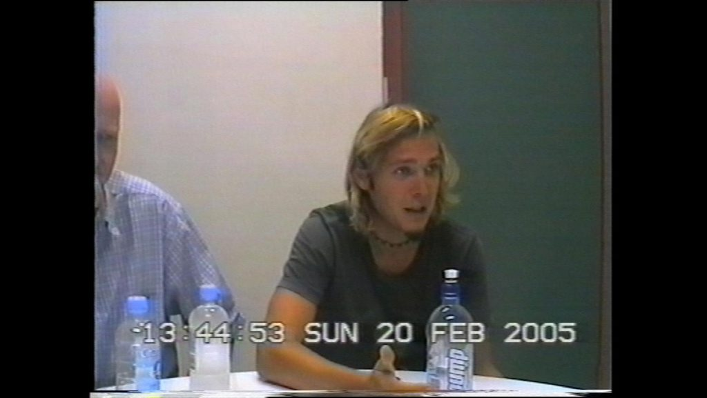 Image taken from a recording of police interview with Tobias Suckfuell, February 2005.