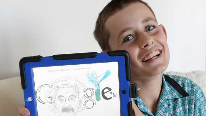 GOOGLE DOODLE: Samuel Nelson, St Joseph's Catholic Primary School is a finalist in the Doodle4Google competition. Photo: Mike Knott / NewsMail