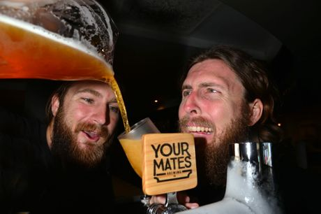 Owners of Drift Bar in Caloundra, Christen McGarry and Matt Hepburn stock Your Mates, pale ale. Photo: John McCutcheon / Sunshine Coast Daily