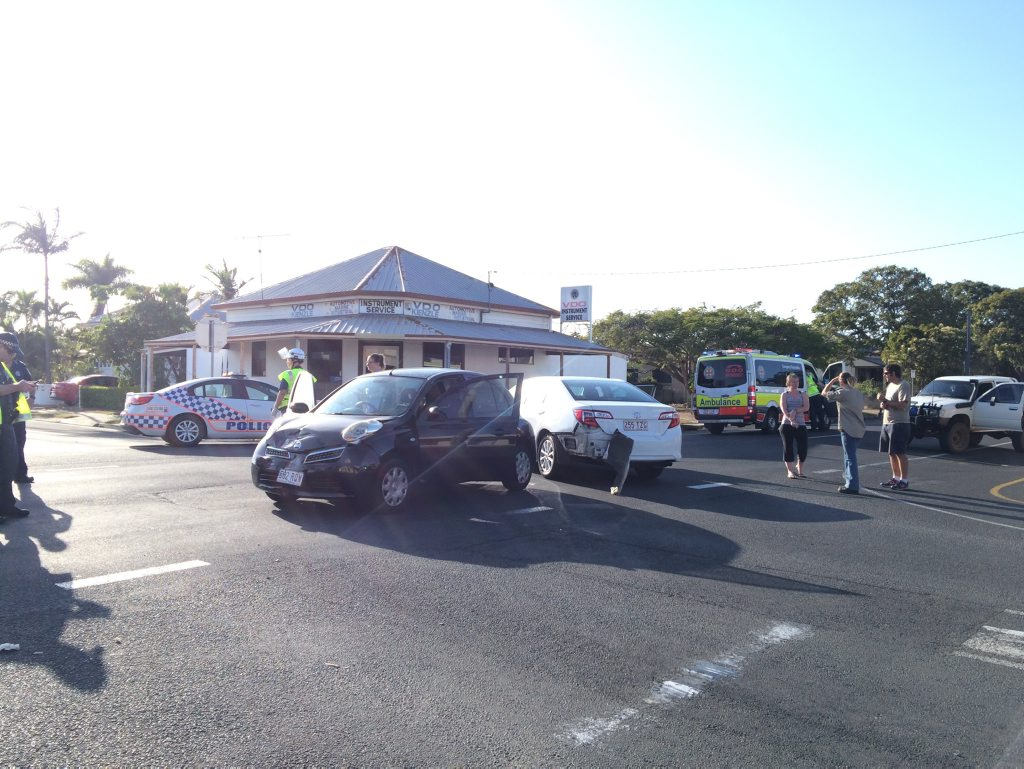 A two car smash at the intersection of Targo and Burnett Sts. Photo Leah Kidd / NewsMail