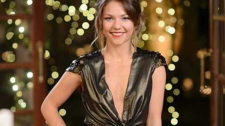 Sam Frost pictured during tonight's cocktail party.
