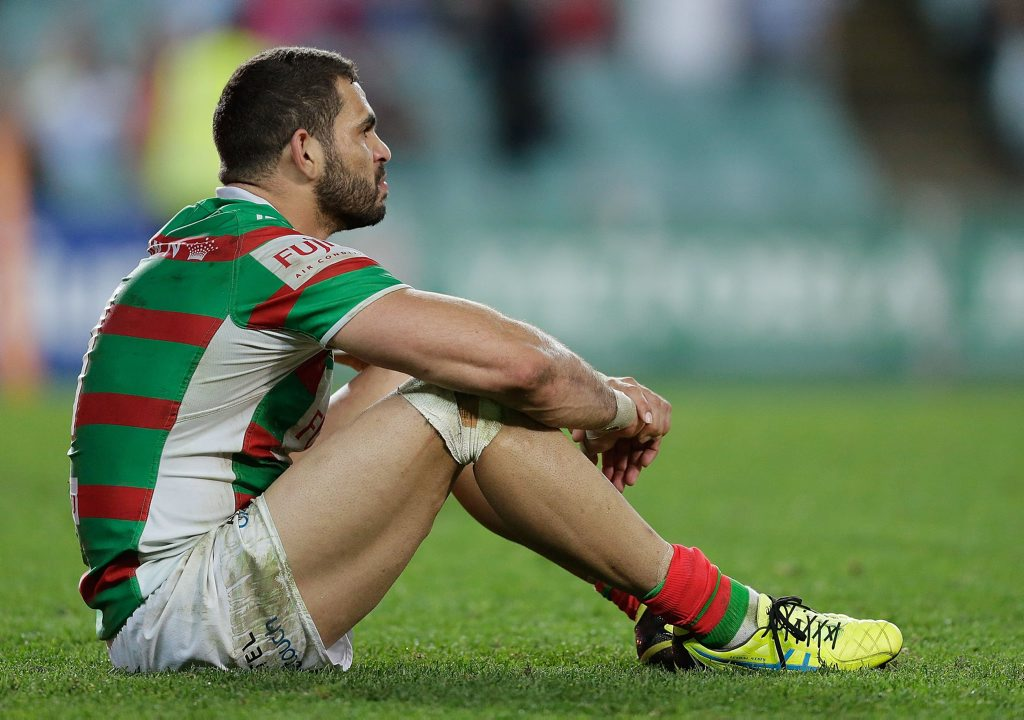SYDNEY, AUSTRALIA - SEPTEMBER 13: Greg Inglis of the Rabbitohs looks dejected after defeat in the NRL Elimination Final match between the Cronulla Sharks and the South Sydney Rabbitohs at Allianz Stadium on September 13, 2015 in Sydney, Australia. (Photo by Mark Metcalfe/Getty Images)