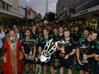 The Ipswich Jets were honoured with a parade in the Ipswich Mall after their stellar 2015 season on Thursday. Photo: Rob Williams / The Queensland Times