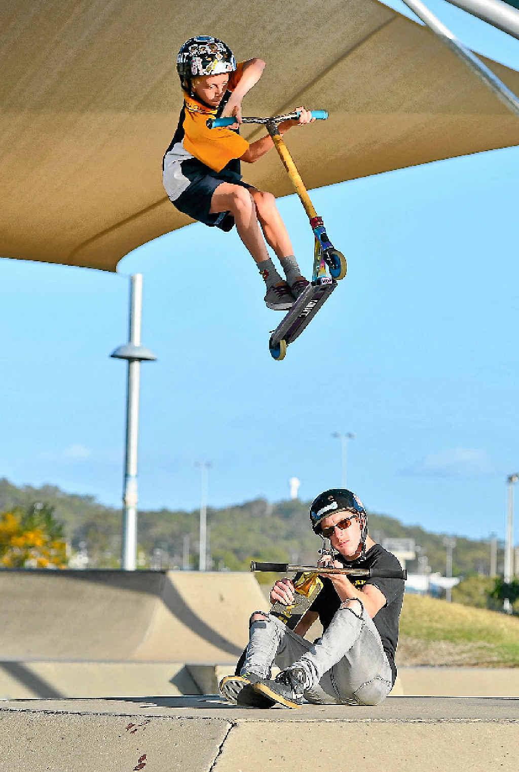 Darcy Davidson, 12, and Ben Davidson at the Gladstone skate park.