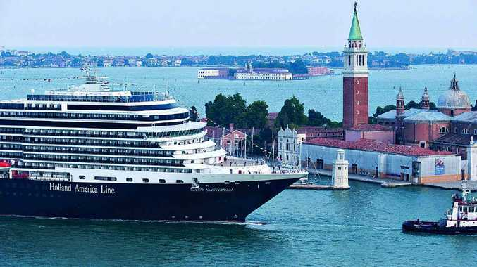 Holland America cruise ship Nieuw Amsterdam enters port.