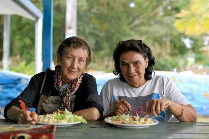 TUCKI IN: Margi Walker and Gail Mendes have lunch at Nullum House, Murwillumbah Community Centre.