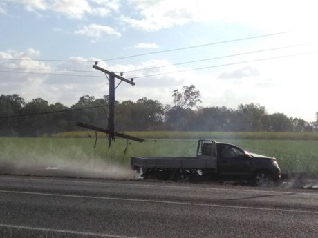 Scene of the crash on the Bruce Hwy south of Mackay