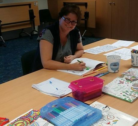Community volunteer and social worker Michelle Ruddell loves to colour in.