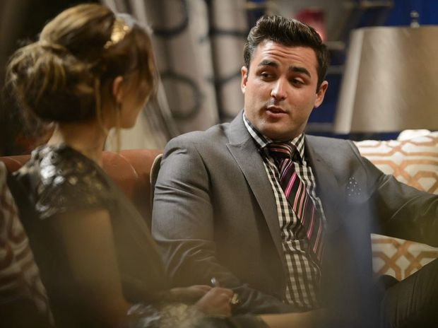 Sam Frost talks to Davey Lloyd in a scene from The Bachelorette.