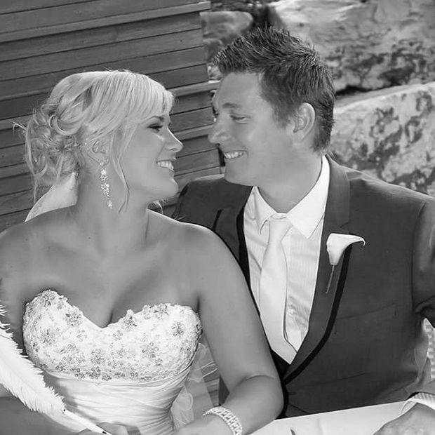 Jed Coey and his wife Kellie on their wedding day.