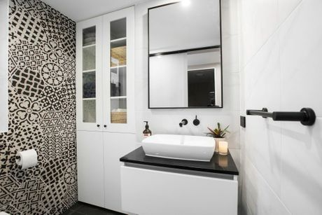 Luke and Ebony's monochrome powder room.