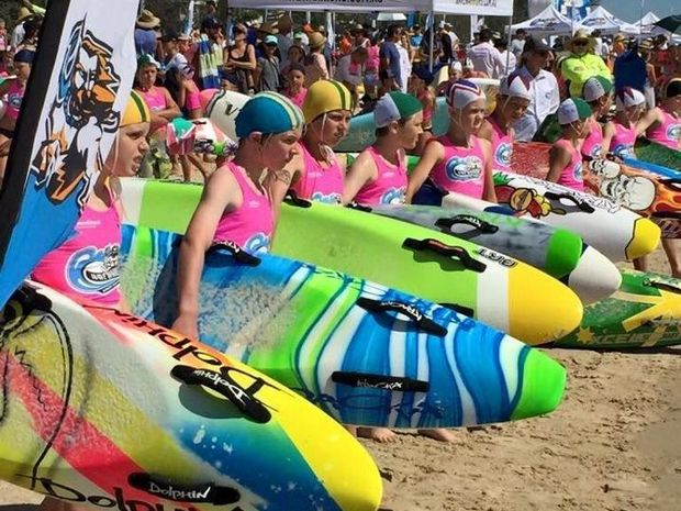 U11 competitor Ollie Sharpe (second from left) lines up for the Board event at Wave Warriors on 3 October. Photo Contributed