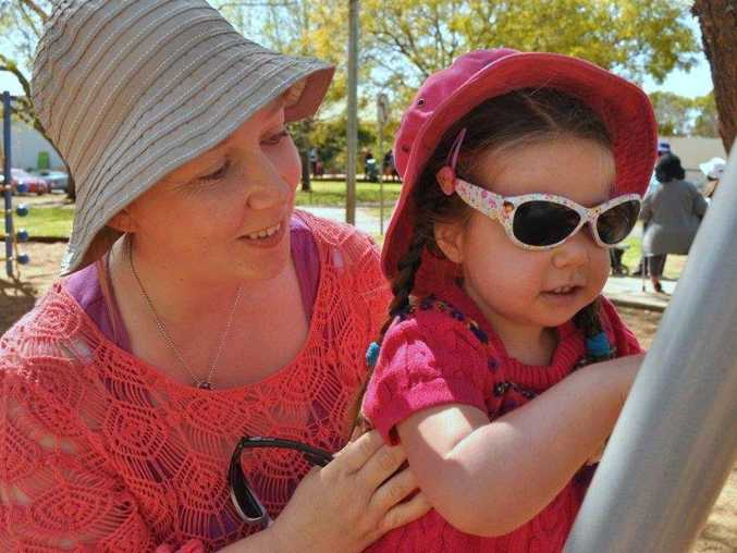 Ayla Feyritear and Mum Jeanette Feyritear enjoying playgroup at the Kath Dickson Family Centre Photo Contributed