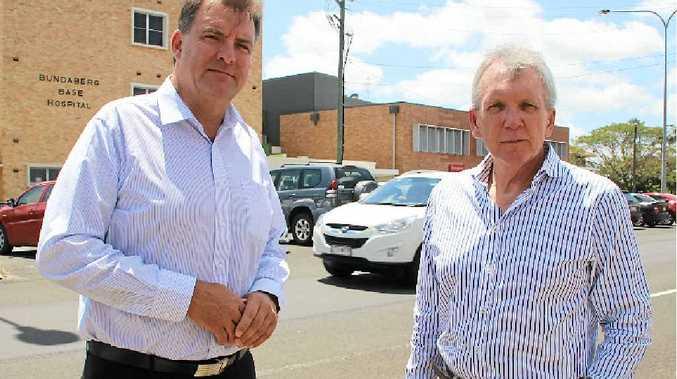 PLEASE EXPLAIN: Member for Burnett Stephen Bennett with Opposition health spokesman Mark McArdle at Bundaberg Hospital.