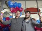 SWEET TREAT: Daniel Fremlin and Jacob Walker won a year's worth of ice-cream by being the first in line at the opening of Baskin Robbins Riverlink.