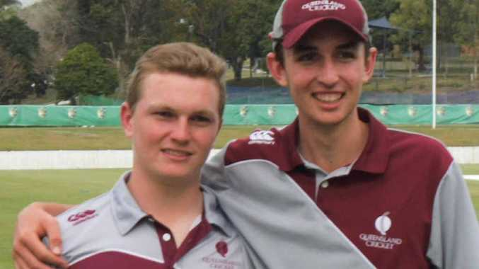 RIGHT: Max Bryant, left, and Jacob Wood following their success with Queensland at the Under-17 national cricket carnival.