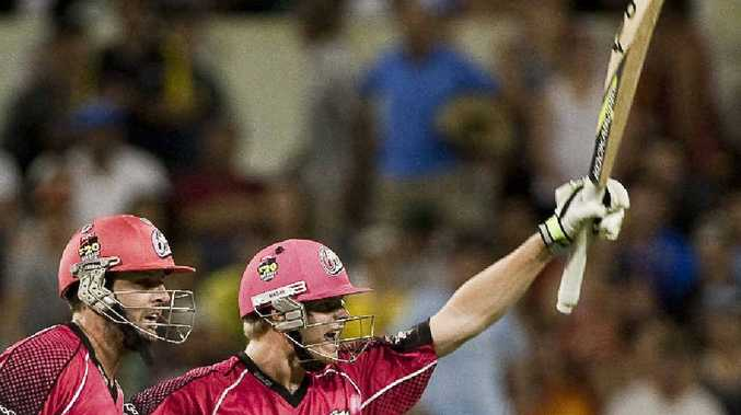 AIMING FOR THE TOP: Ben Rohrer, left, and Steve Smith celebrate the Sydney Sixers' win over the Perth Scorchers in the 2012 Big Bash League final. The inaugural Regional Bash Twenty20 will give promising Country cricketers the chance to impress Sixers scouts and perhaps even snag a rookie contract.