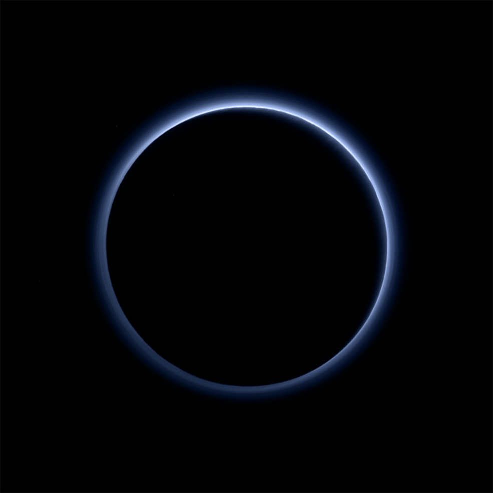 Pluto's Blue Sky: Pluto's haze layer shows its blue color in this picture taken by the New Horizons Ralph/Multispectral Visible Imaging Camera (MVIC).