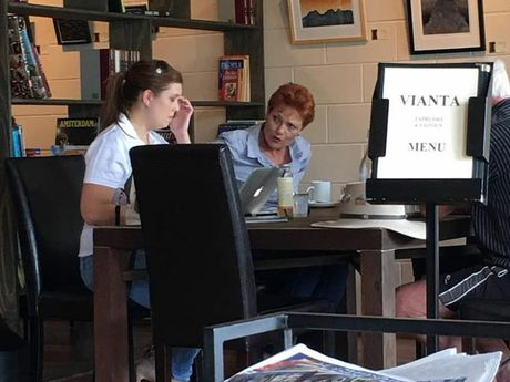 Pauline Hanson was spotted at Vianta Cafe in Beerwah this morning.