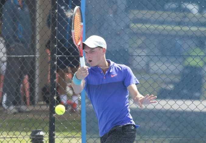 Toowoomba player Jake Mengel in action this morning during his Toowoomba International qualifying match at the Toowoomba Regional Tennis Centre - USQ.