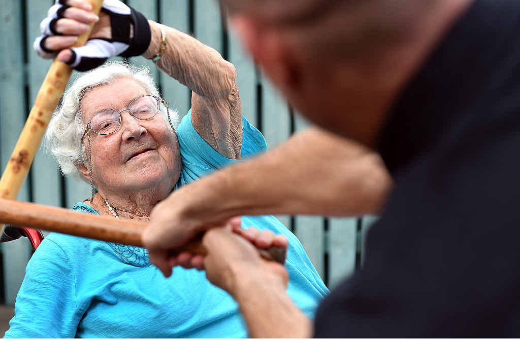 GREEN BELT GRANNY: 86-year-old Jean Simmons hasn't shied away from workouts with her instructor Michael Green.