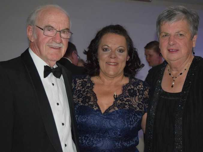 GRAND EVENING: Former Mayor and Warwick RSL patron Ron Bellingham, Warwick RSL Manager Jo Schwenke and Kath Bellingham celebrate the re-opening of Kings Theatre on Saturday night.
