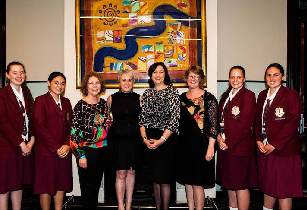 ALL SMILES: Premier Annastacia Palaszczuk (centre) with past and present St Mary's College students at the school's inaugural gala dinner.