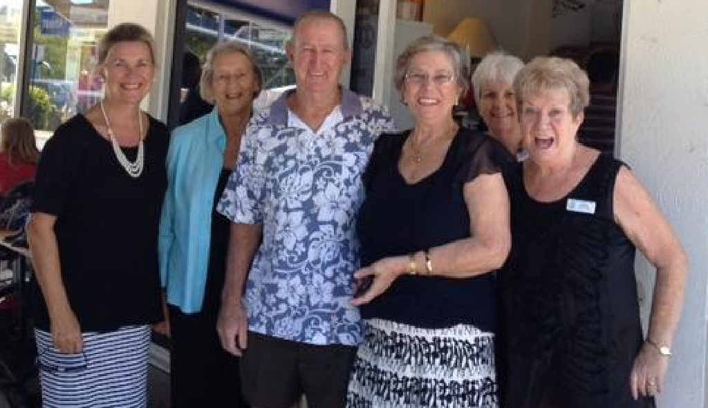 STALWARTS: Pam and Lester Holmes are farewelled by fellow volunteers at the Tewantin Sunshine Hospice.