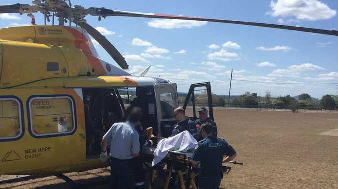 RACQ CareFlight Rescue has airlifted a middle-aged woman who fell from a horse at Kentville in the Lockyer Valley region.
