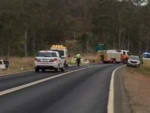 Woman cut from crash, three taken to hospital