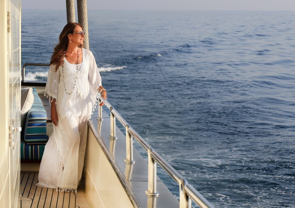 Ex Tweed Coast and Fingal Heads resident Clara Zawawi on board her luxary 90 foot Dhow, The