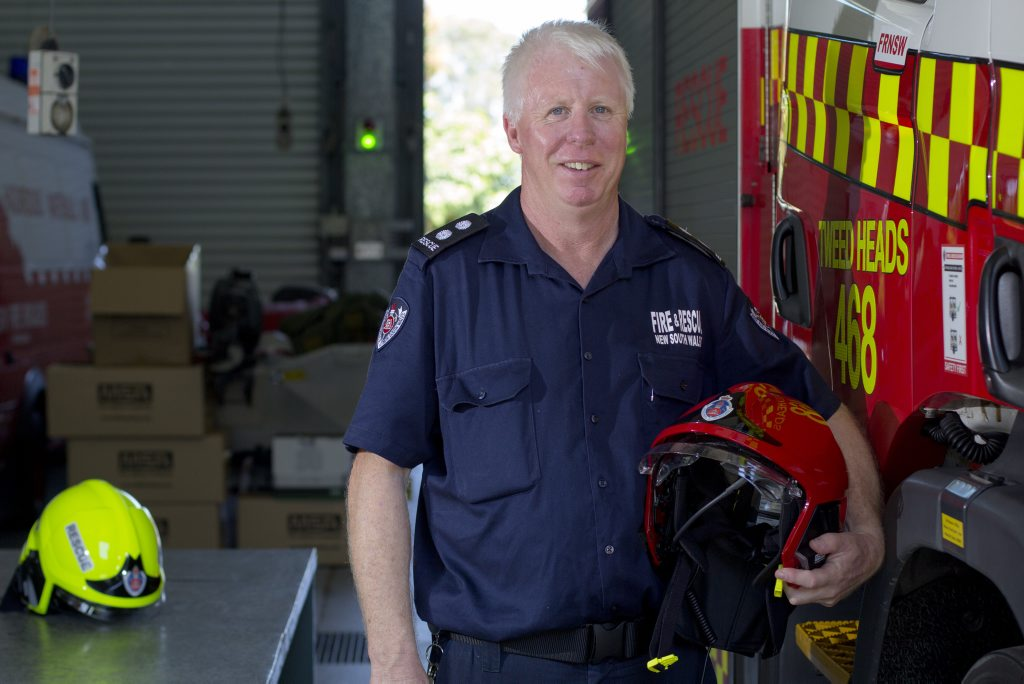 Tweed Heads Fire and Rescue Station Officer Mark Johnson with his new state-of-the-art helmet. Photo: Liana Turner / Tweed Daily News