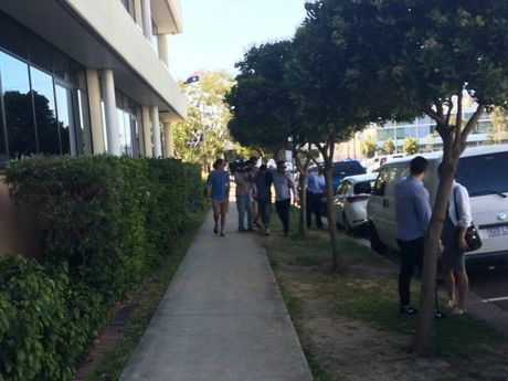 Tyson Joel Wylie (in blue t-shirt and jeans) is supported by family and friends as he leaves Maroochydore watchhouse.
