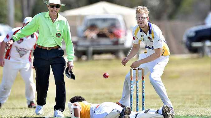 RETURN: The Bushrangers return to the field for their first game of the season. Mark Speechley gets back into his crease before bowler Matt Burgess can inflict any damage and (below) Jason Riley's first innings of the season ends after a pearler whacks his middle stump.