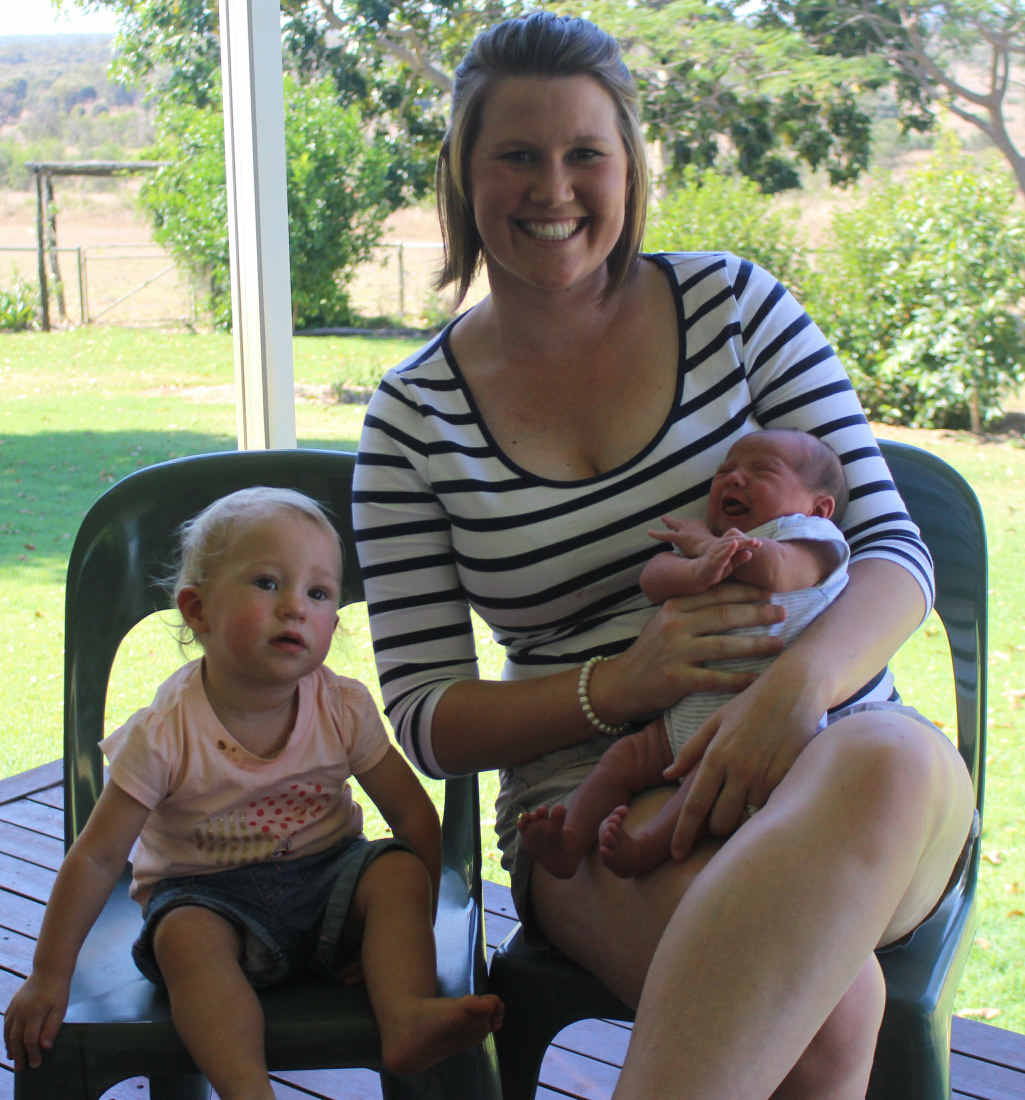 NEW ADDITION: Adelynn, Olivia and newborn Maggie McDouall are very proud of their husband and dad for winning the Queensland Rising Star for 2015.