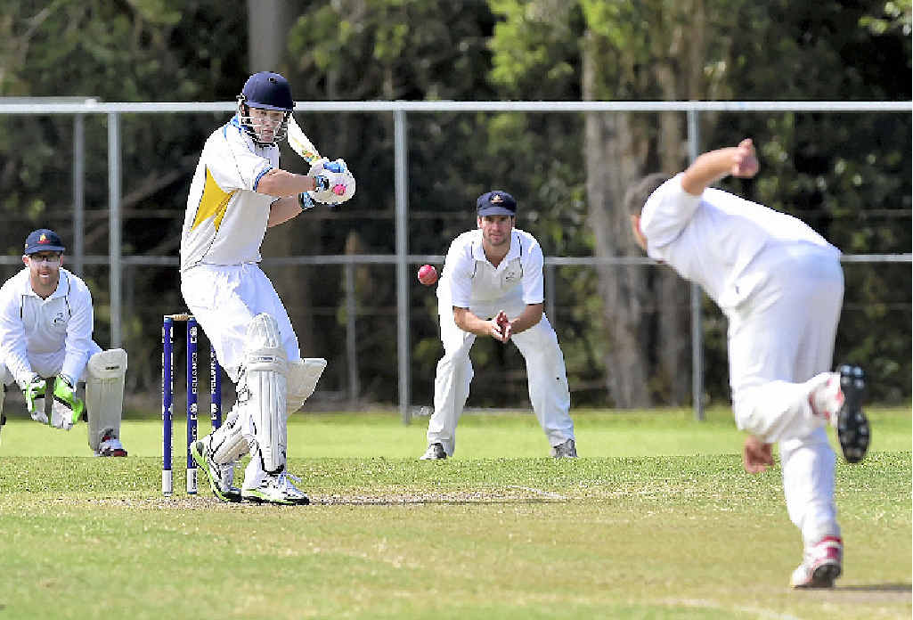 FOUR MORE: Nambour's Hayden Gregg puts a Kevin Schultz ball away but the Blues claimed victory in round one.