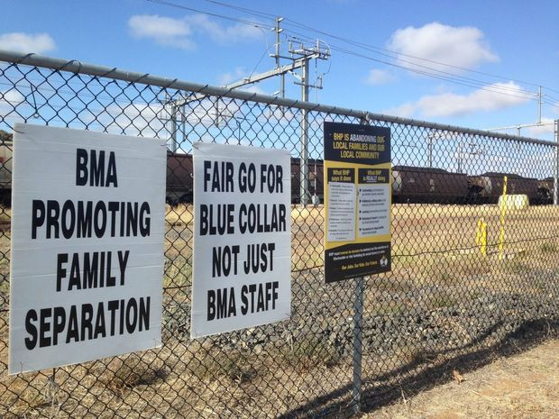FAIR GO: Signs have been erected around Blackwater, after negotiations for BHP Billiton's next Enterprise Agreement started on Thursday. Photo Meghan Kidd / CQ News