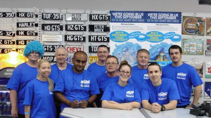 WINNERS: Autobarn Bundaberg are the highest store fundraiser for the second year. Back row: Trent Harrison, Robert King, Peter Hyland, Julian Byford and Hayden Bickmore. Front row: Lauren Nicolson, Umesh Dayah, Ian Damiani, Rachelle Lydyard and Stephen Browning (floor manager). Photo Contributed