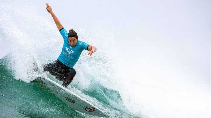 IN FINE FORM: Tyler Wright, previously of Lennox Head, competing in the Roxy Pro in France on Monday.