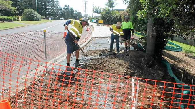 MISSING LINK: Ballina Shire Council crew members Matt Darcy, Ralph Panetta and Rob Hunter prepare the last section of shared pathway on North Creek Rd at Lennox Head which, when finished, will mean a shared pathway for cyclists and pedestrians will extend from West Ballina to Lennox Head.