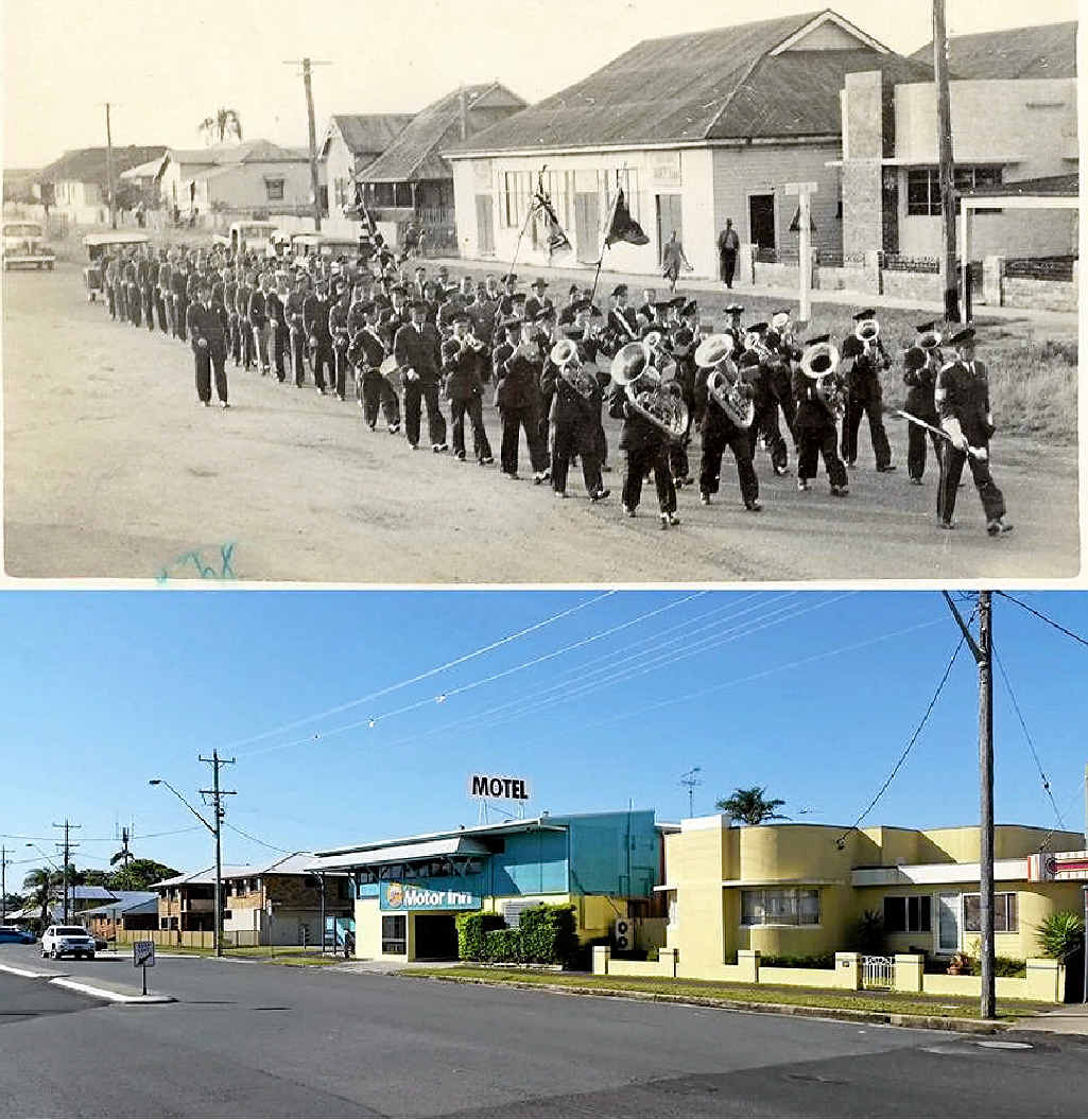 The main street of Evans Head in 1948 showing the large Anzac parade and today.