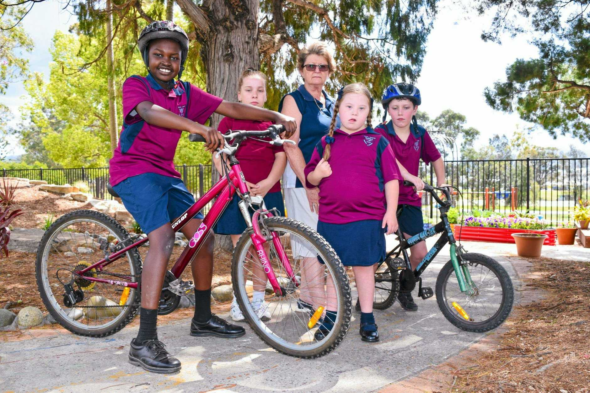 Special needs students at Coffs Harbour Public School with their teacher, Jenny Snodgrass.