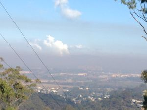Hazy morning over Gladstone after West Stowe grass fire