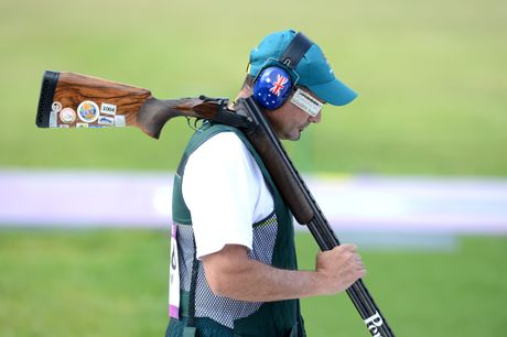 Michael Diamond looking dejected during the shoot out for bronze in the men's trap men final at the Royal Artillery Barrack during the Olympic Games in London, Monday, Aug. 6, 2012. (AAP Image/Tracey Nearmy)